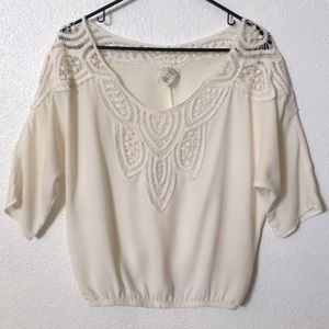 Tops - Cream blouse with crochet lace detail